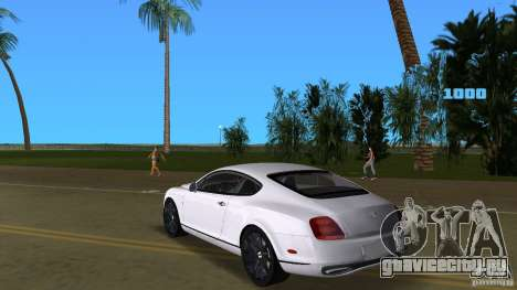 Bentley Continental Supersport для GTA Vice City вид сзади слева