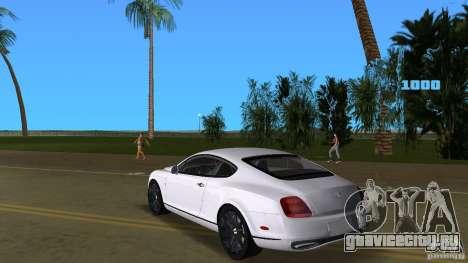Bentley Continental Supersport для GTA Vice City вид сзади слева