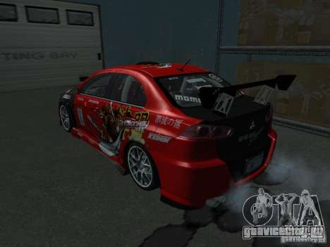 Mitsubishi Evolution X Stock-Tunable для GTA San Andreas вид изнутри