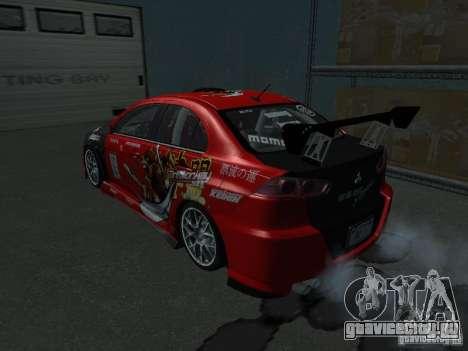 Mitsubishi Evolution X Stock-Tunable для GTA San Andreas вид изнутри