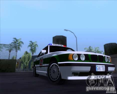 BMW E34 Policija для GTA San Andreas вид сзади слева