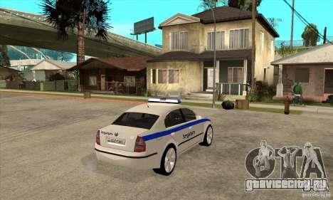 Skoda SuperB GEO Police для GTA San Andreas вид справа