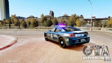 POLICIA FEDERAL MEXICO DODGE CHARGER ELS для GTA 4 вид слева
