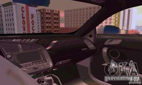 Audi R8 V10 5.2. FSI для GTA San Andreas вид изнутри