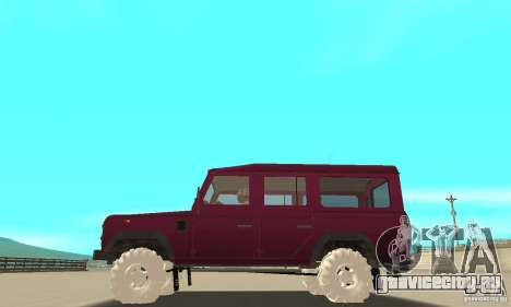 Land Rover Defender 110SW для GTA San Andreas вид сверху
