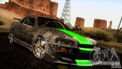 Nissan Skyline R34 Drift для GTA San Andreas вид сверху