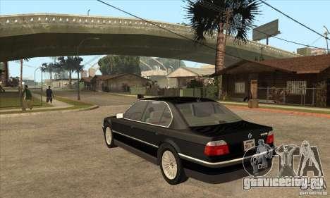 BMW E38 750IL для GTA San Andreas вид сзади слева