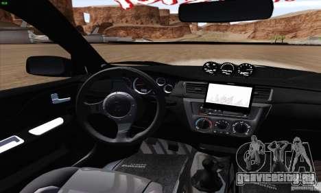 Mitsubishi Lancer EVO VIII BlackDevil для GTA San Andreas вид изнутри