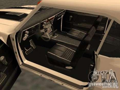 Chevrolet Camaro SS 396 Turbo-Jet для GTA San Andreas вид изнутри