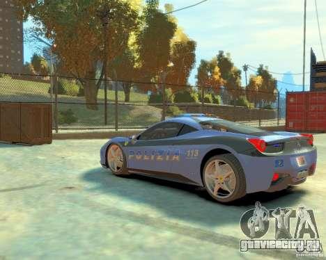 Ferrari 458 Italia Police для GTA 4 вид сзади слева