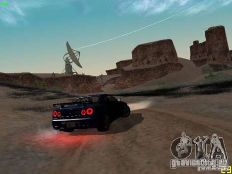 Nissan Skyline GT-R R34 V-Spec для GTA San Andreas вид сзади