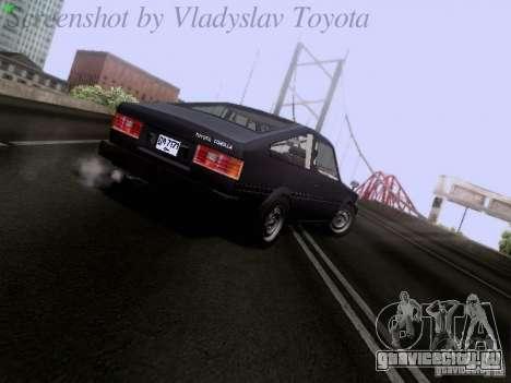 Toyota Corolla TE71 Coupe для GTA San Andreas вид сзади слева