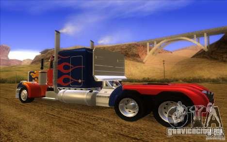 Truck Optimus Prime v2.0 для GTA San Andreas вид сзади слева