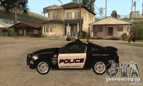 Shelby GT500 2010 Police для GTA San Andreas вид слева