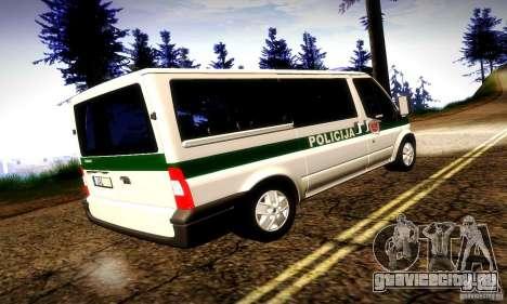 Ford Transit Policija для GTA San Andreas вид справа