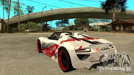 Porsche 918 Spyder Consept для GTA San Andreas вид сзади слева