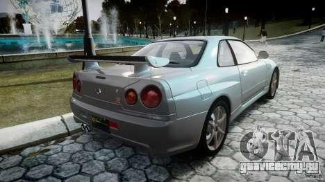 Nissan Skyline GT-R R34 2002 v1 для GTA 4 вид сбоку