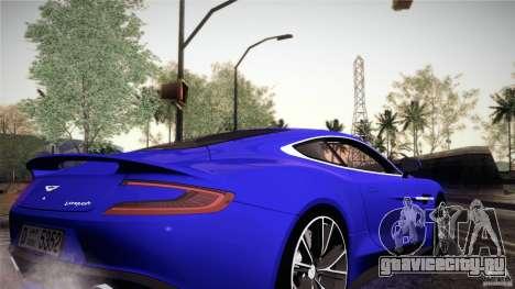 Aston Martin Vanquish V12 для GTA San Andreas вид изнутри