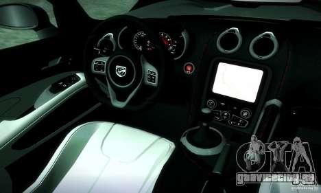 Dodge Viper SRT  GTS для GTA San Andreas вид изнутри