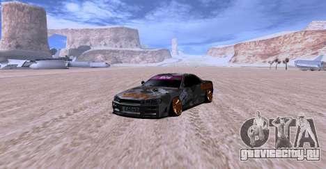 Nissan Skyline GTR34 MAXXIS для GTA San Andreas вид сзади слева