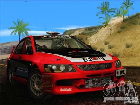 Mitsubishi Lancer Evolution IX Rally для GTA San Andreas вид сзади слева