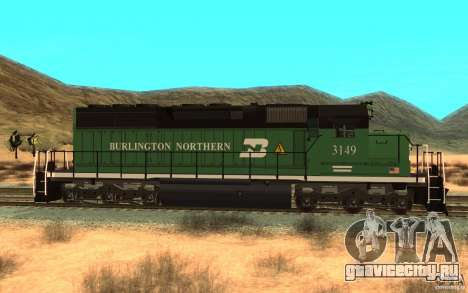 SD 40 Union Pacific Burlington Northern 3149 для GTA San Andreas вид слева