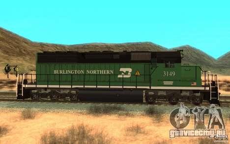 SD 40 Union Pacific Burlington Northern 3149 для GTA San Andreas вид слева