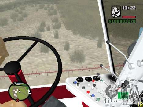 Комбайн СК-5 Нива для GTA San Andreas вид изнутри
