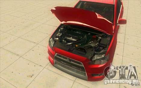 Mitsubishi Lancer Evolution X MR1 для GTA San Andreas вид изнутри