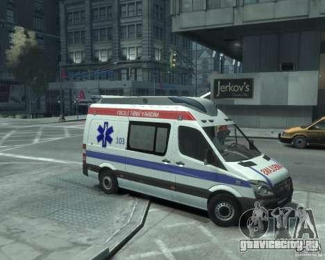 Mercedes-Benz Sprinter Azerbaijan Ambulance v0.1 для GTA 4 вид сзади слева