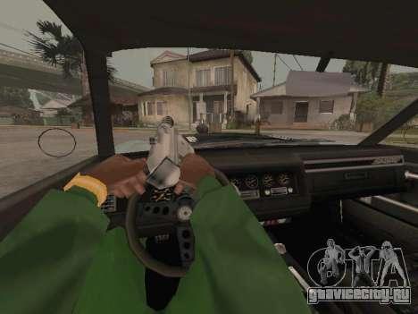 SabreGT из GTA 4 для GTA San Andreas вид изнутри