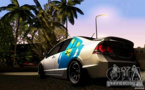 Honda Civic FD BlueKun для GTA San Andreas вид сзади слева