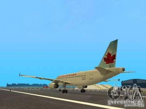Airbus A319 Air Canada для GTA San Andreas вид сзади слева