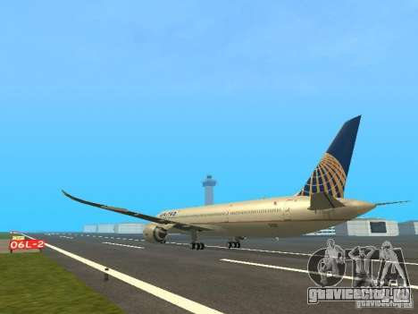 Boeing 787 Dreamliner United Airlines для GTA San Andreas вид сзади слева