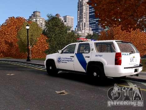 Chevrolet Tahoe Homeland Security для GTA 4 вид сзади слева