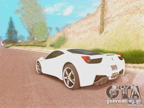 Ferrari 458 2010 для GTA San Andreas вид слева