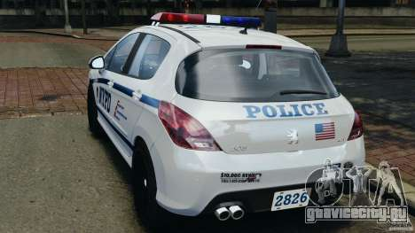 Peugeot 308 GTi 2011 Police v1.1 для GTA 4 вид сзади слева