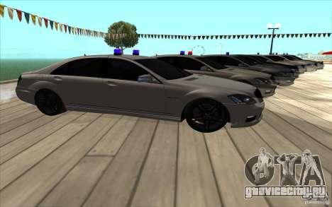 Mercedes-Benz S65 AMG с мигалками для GTA San Andreas вид справа