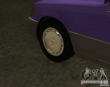 Mercedes Benz 400 SE W140 (Wheels style 3) для GTA San Andreas вид сзади