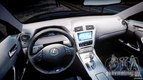 Lexus IS F для GTA 4 вид сзади