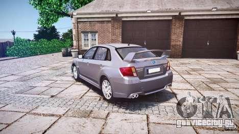 Subaru Impreza WRX 2011 для GTA 4 вид сзади слева