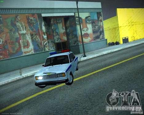 ВАЗ 2107 Полиция для GTA San Andreas вид изнутри