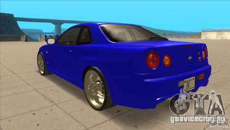 Nissan Skyline R34 FNF4 для GTA San Andreas вид сзади слева