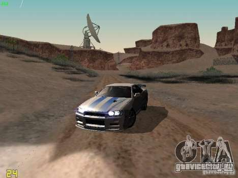 Nissan Skyline GT-R R34 V-Spec для GTA San Andreas вид сверху