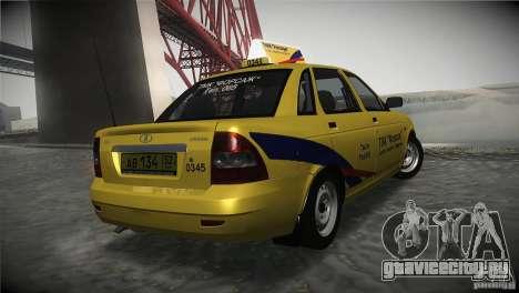 ВАЗ 2170 Приора Такси ТМК Форсаж для GTA San Andreas вид сзади слева