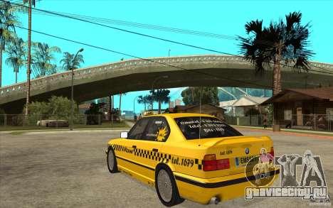 BMW 525tds E34 Taxi для GTA San Andreas вид сзади слева