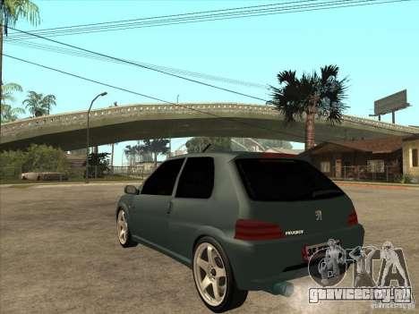 Peugeot 106 GTI Tuning для GTA San Andreas вид сзади слева
