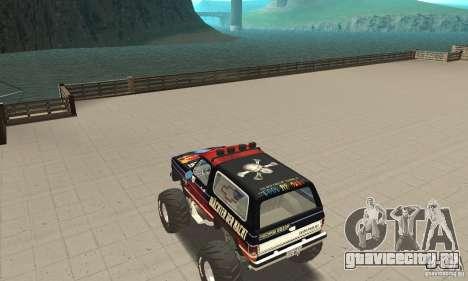 Chevrolet Blazer K5 Monster Skin 5 для GTA San Andreas вид сзади слева