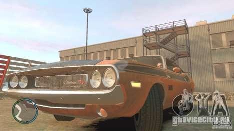 Dodge Challenger R T Hemi 1970 для GTA 4 вид справа