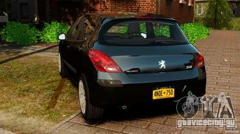 Peugeot 308 2007 для GTA 4 вид сзади слева
